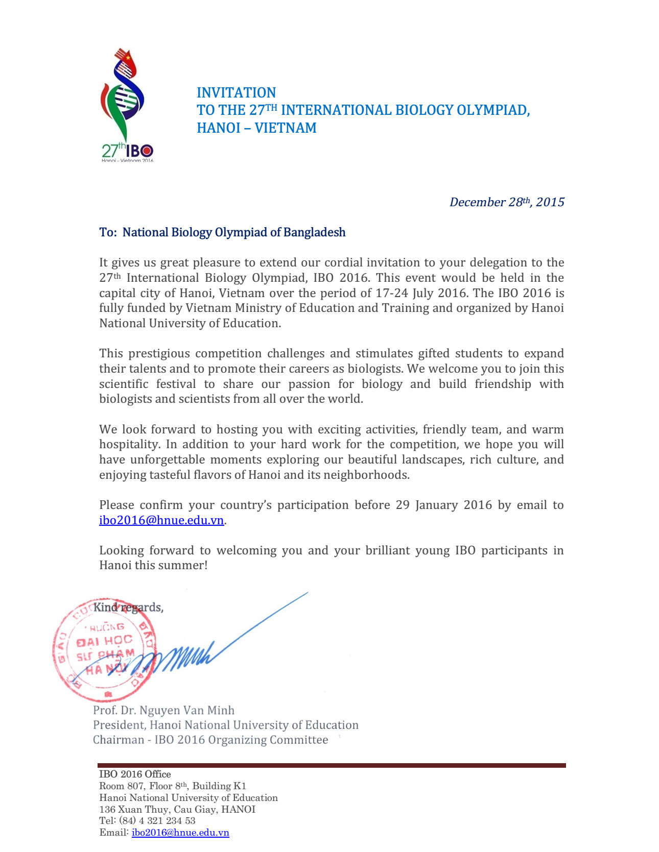Invitation letter from ibo2016 bangladesh biology olympiad ibo2016 invitation stopboris Choice Image